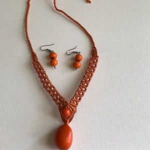 Orange string necklace and earrings